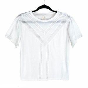 NWOT La Vie Rebecca Taylor White Lace T-Shirt
